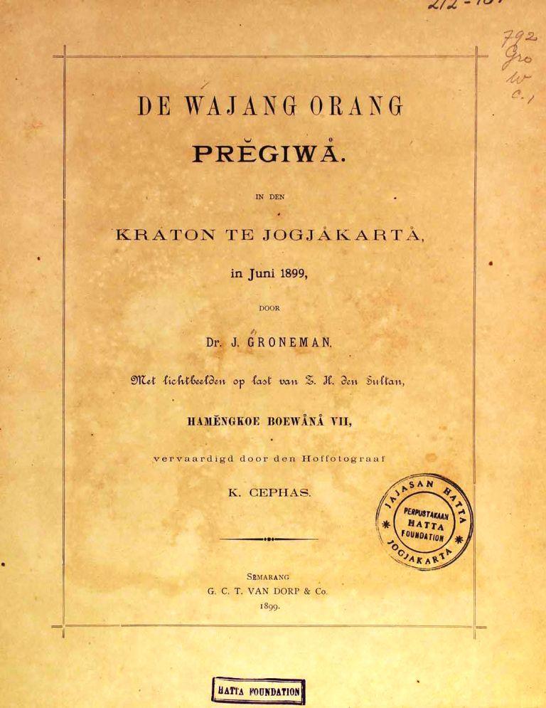 De Wajang Orang Pregiwa in Den Kraton Te Jogjakarta