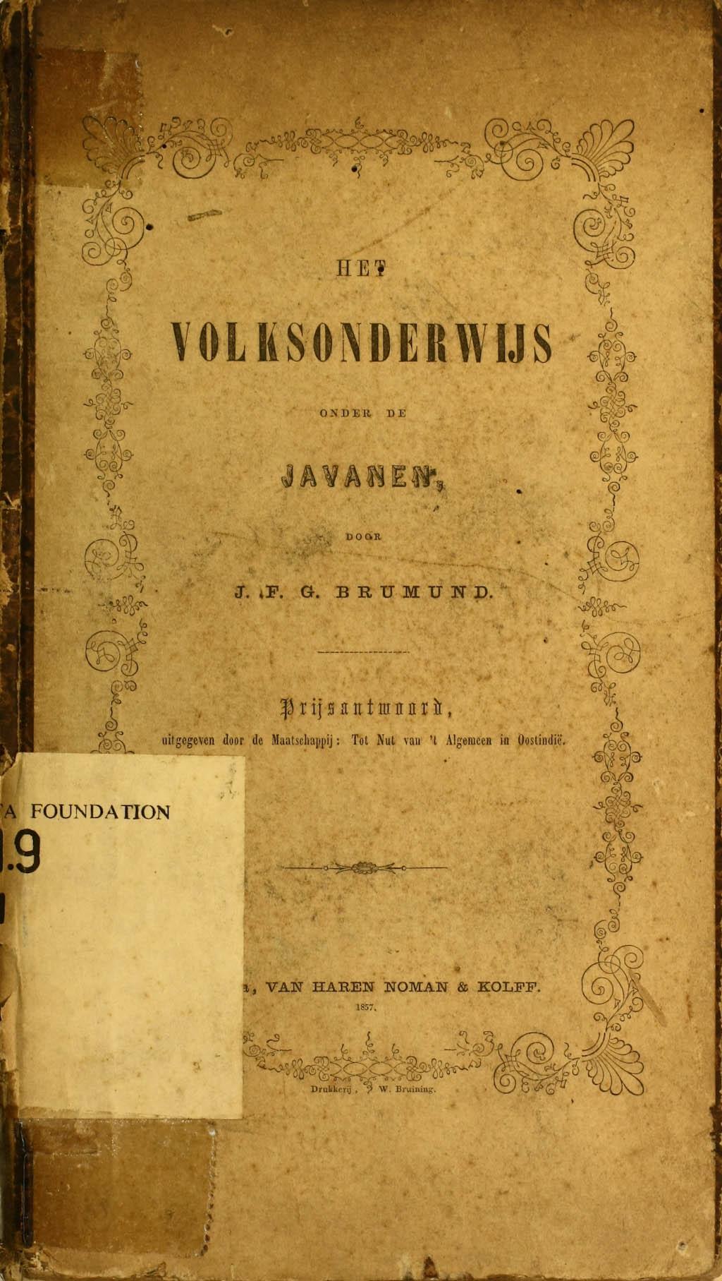 Het Volksonderwijs Onder de Javanen