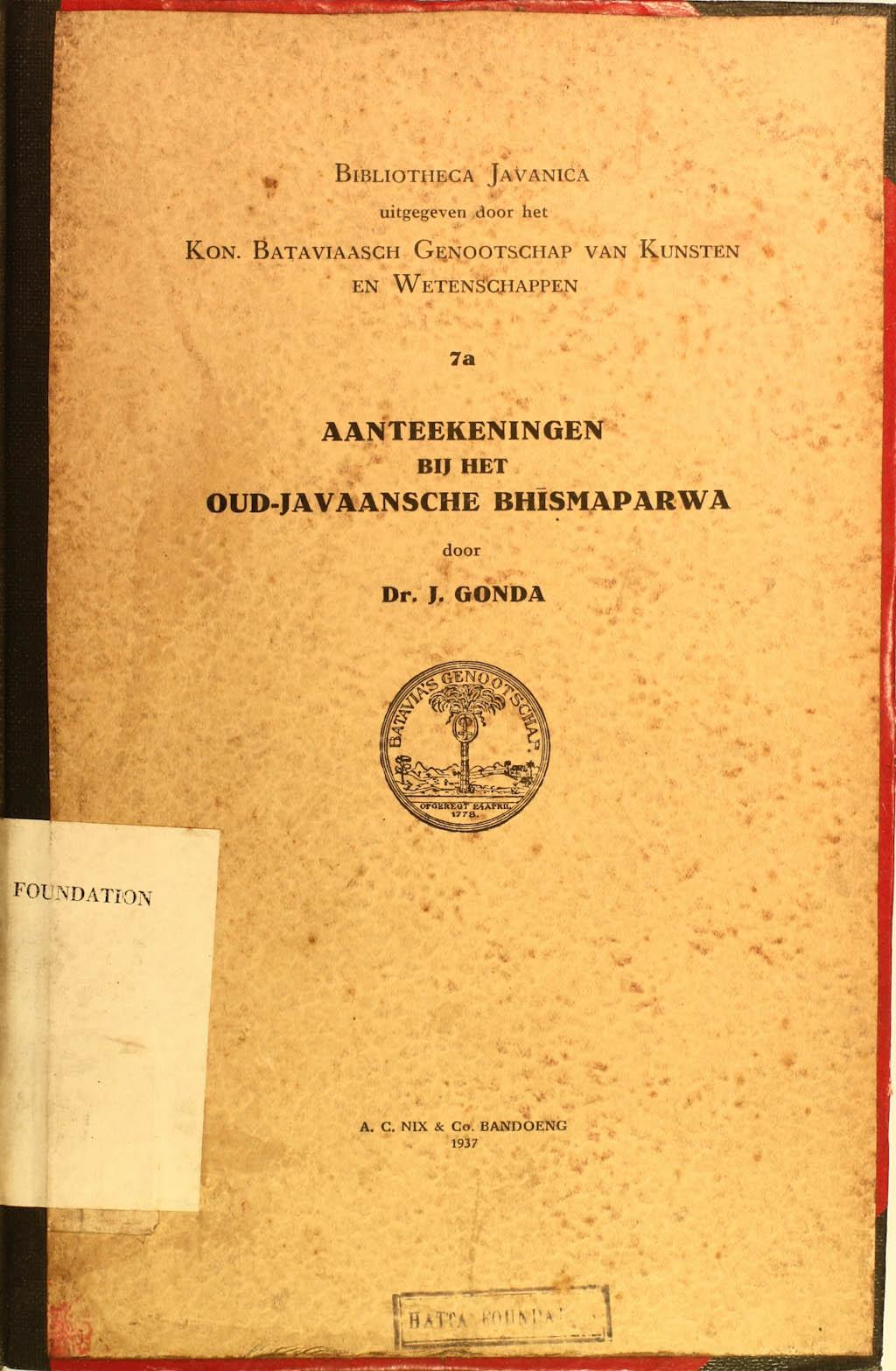 Aanteekeningen bij het oud-Javaansche Bhismaparwa